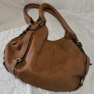 3 pocket small leather shoulder bag merona brand